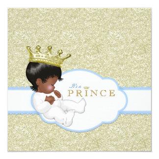 Fiesta de bienvenida al bebé étnica de príncipe invitación 13,3 cm x 13,3cm