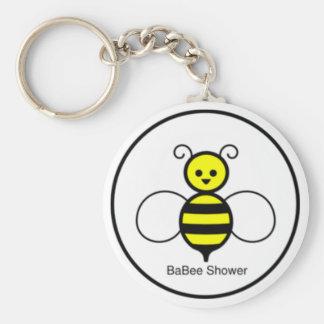 Fiesta de bienvenida al bebé feliz de la abeja llavero redondo tipo chapa