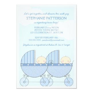 Fiesta de bienvenida al bebé feliz del carro azul invitación 12,7 x 17,8 cm