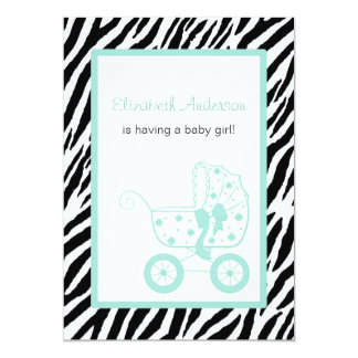Fiesta de bienvenida al bebé femenina del carro de invitación personalizada