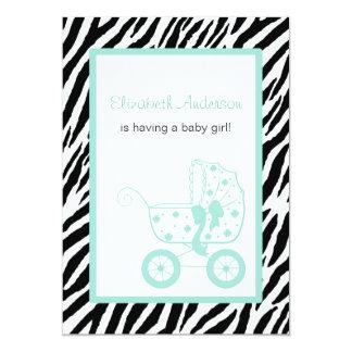 Fiesta de bienvenida al bebé femenina del carro de invitación 12,7 x 17,8 cm