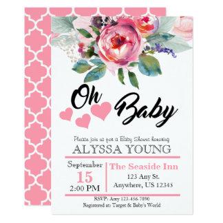 Fiesta de bienvenida al bebé floral de la acuarela invitación 12,7 x 17,8 cm