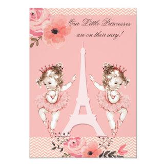 Fiesta de bienvenida al bebé floral de París de Invitación 12,7 X 17,8 Cm