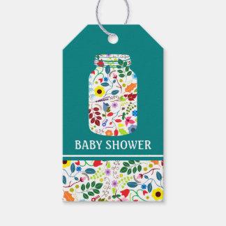 Fiesta de bienvenida al bebé floral del tarro de etiquetas para regalos