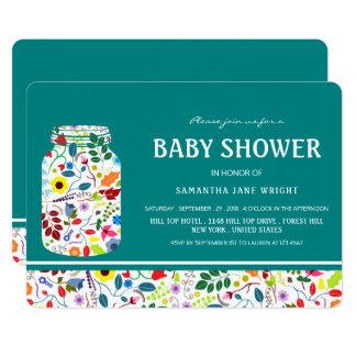 Fiesta de bienvenida al bebé floral del tarro de invitación 12,7 x 17,8 cm