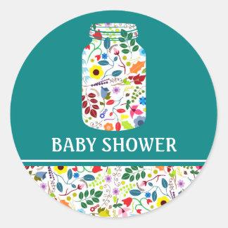 Fiesta de bienvenida al bebé floral del tarro de pegatina redonda
