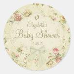 Fiesta de bienvenida al bebé floral del vintage pegatinas redondas