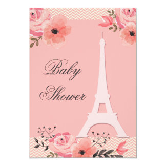 Fiesta de bienvenida al bebé floral elegante de la invitación 12,7 x 17,8 cm