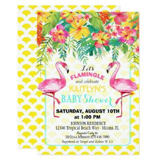 Fiesta de bienvenida al bebé floral tropical del invitación 12,7 x 17,8 cm
