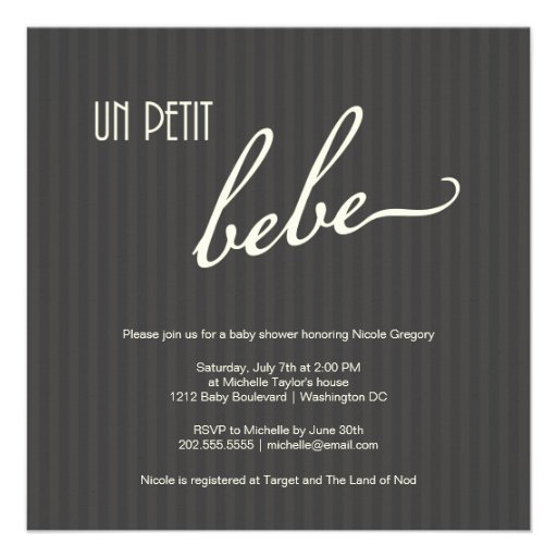 Fiesta de bienvenida al bebé francesa elegante anuncio personalizado