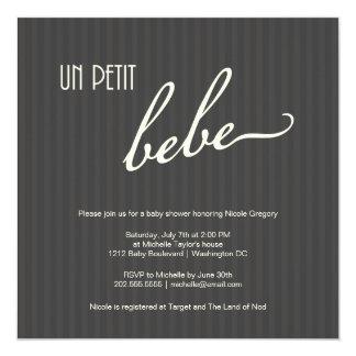 Fiesta de bienvenida al bebé francesa elegante invitación 13,3 cm x 13,3cm