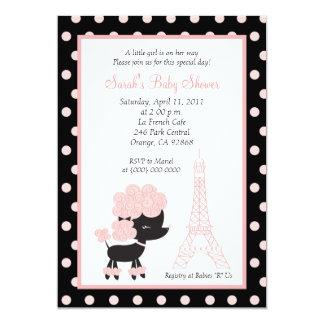 Fiesta de bienvenida al bebé FRANCESA ROSADA del Invitación 12,7 X 17,8 Cm