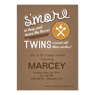 Fiesta de bienvenida al bebé gemela de S'more Invitación 12,7 X 17,8 Cm