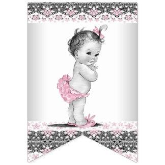Fiesta de bienvenida al bebé gris del chica del banderines