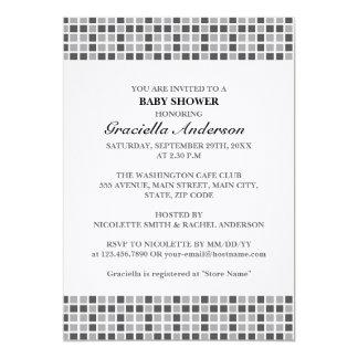 Fiesta de bienvenida al bebé gris del modelo de invitación 12,7 x 17,8 cm