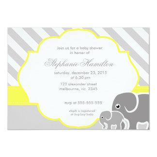 Fiesta de bienvenida al bebé gris del neutral del invitación 11,4 x 15,8 cm