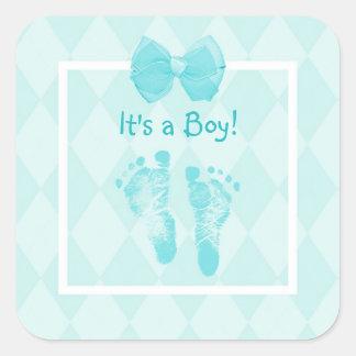 Fiesta de bienvenida al bebé linda Blue Ribbon de Pegatina Cuadrada