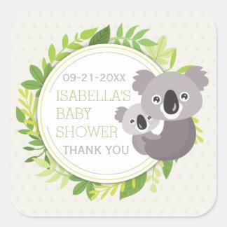 Fiesta de bienvenida al bebé linda de la koala de pegatina cuadrada