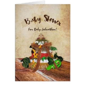 Fiesta de bienvenida al bebé linda de la torta del tarjeta de felicitación