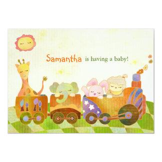 Fiesta de bienvenida al bebé linda de los animales invitación 12,7 x 17,8 cm
