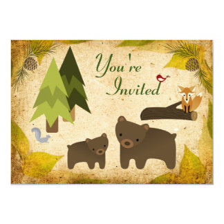 Fiesta de bienvenida al bebé linda de los osos y invitación 12,7 x 17,8 cm