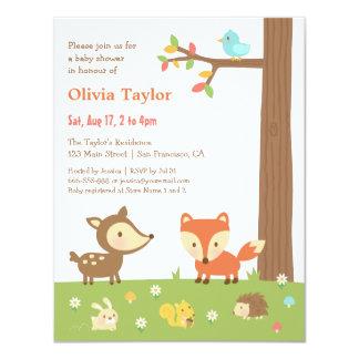 Fiesta de bienvenida al bebé linda del animal del invitación 10,8 x 13,9 cm