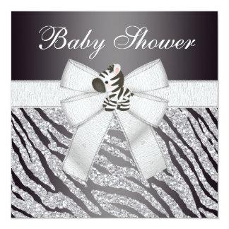Fiesta de bienvenida al bebé linda del brillo de invitación 13,3 cm x 13,3cm