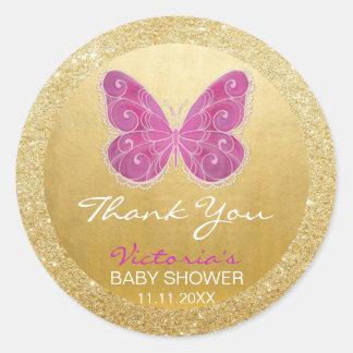 Fiesta de bienvenida al bebé linda del brillo del pegatina redonda