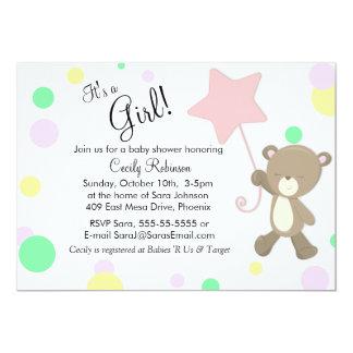 Fiesta de bienvenida al bebé linda del chica del invitación 12,7 x 17,8 cm