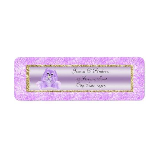 Fiesta de bienvenida al bebé linda del conejito de etiqueta de remite