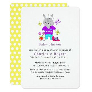 Fiesta de bienvenida al bebé linda del conejo de invitación 12,7 x 17,8 cm