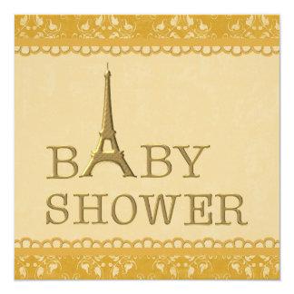 Fiesta de bienvenida al bebé linda del damasco de invitación 13,3 cm x 13,3cm