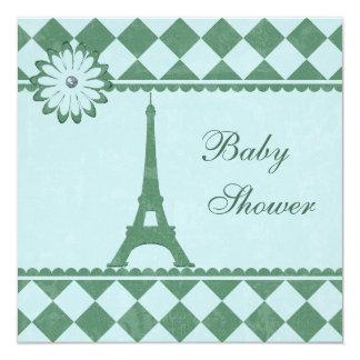 Fiesta de bienvenida al bebé linda del verde azul invitación 13,3 cm x 13,3cm