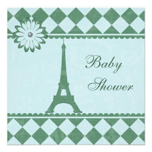Fiesta de bienvenida al bebé linda del verde azul anuncios personalizados