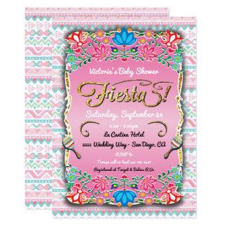Fiesta de bienvenida al bebé mexicana floral de la invitación 12,7 x 17,8 cm