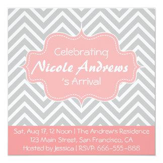 Fiesta de bienvenida al bebé: Modelo gris y blanco Invitación 13,3 Cm X 13,3cm