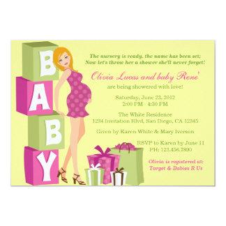 Fiesta de bienvenida al bebé moderna de la mamá invitación 12,7 x 17,8 cm
