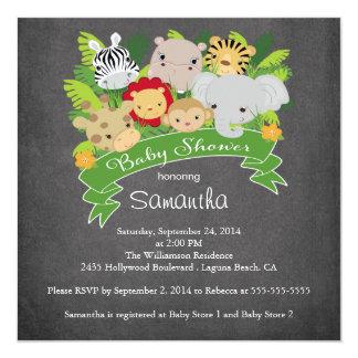 Fiesta de bienvenida al bebé moderna del animal invitación 13,3 cm x 13,3cm