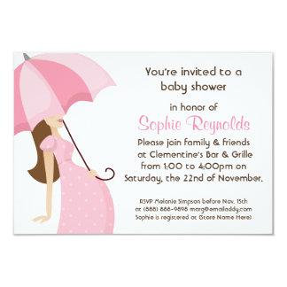 Fiesta de bienvenida al bebé moderna del rosa de invitación 8,9 x 12,7 cm