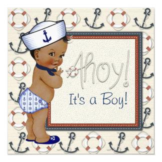 Fiesta de bienvenida al bebé náutica afroamericana invitación 13,3 cm x 13,3cm