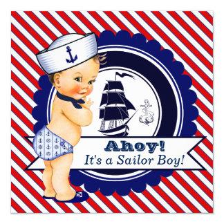 Fiesta de bienvenida al bebé náutica de los invitación 13,3 cm x 13,3cm