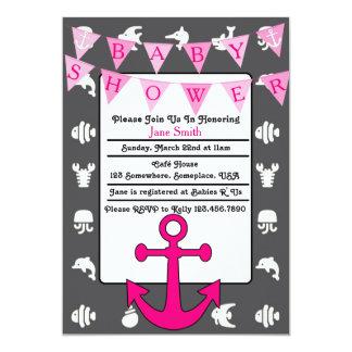 Fiesta de bienvenida al bebé náutica del chica invitación 12,7 x 17,8 cm