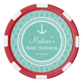 Fiesta de bienvenida al bebé náutica retra del fichas de póquer