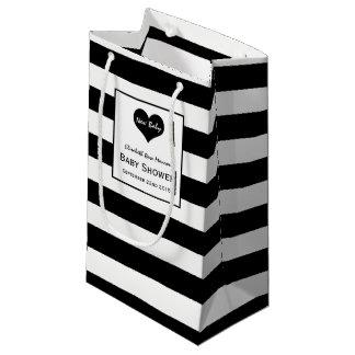 Fiesta de bienvenida al bebé negra y blanca bolsa de regalo pequeña