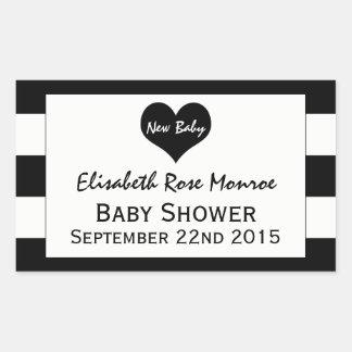 Fiesta de bienvenida al bebé negra y blanca pegatina rectangular