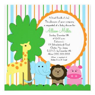 Fiesta de bienvenida al bebé neutral animal del be anuncios personalizados