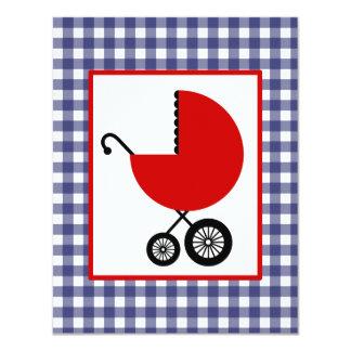 Fiesta de bienvenida al bebé neutral - carro rojo invitación 10,8 x 13,9 cm