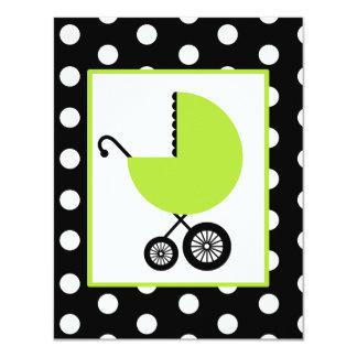 Fiesta de bienvenida al bebé neutral - carro y invitación 10,8 x 13,9 cm