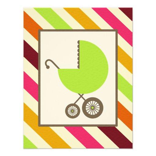 Fiesta de bienvenida al bebé neutral - carro y ray anuncio personalizado