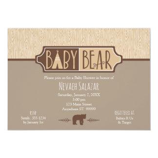"""""""Fiesta de bienvenida al bebé neutral del oso del Invitación 12,7 X 17,8 Cm"""